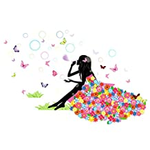 uxcell® Bubble Butterfly Girl DIY Wall Stickers Removable Home Decoration Living Room Bedroom Girl's Room Decor Self Adhesive Creative Art Mural Decal