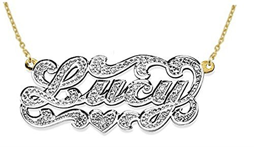 - Personalized All Diamond Nameplate Necklace Sterling Silver or Yellow Gold Plated Silver. Special Order, Made to Order.