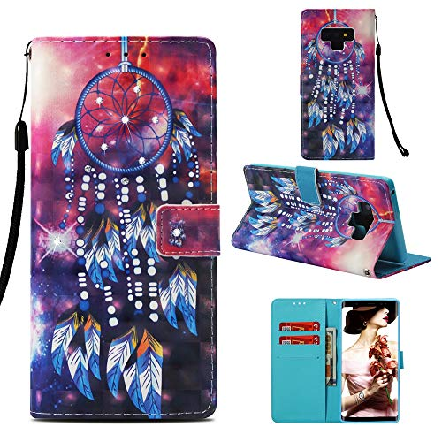 Galaxy Note 9 Case, ZERMU 3D Bling Shiny Diamond Premium PU Leather Flip Folio Wallet Case with Kickstand Card Holder ID Slot and Hand Strap Shockproof Protective Cover for Samsung Galaxy Note 9 6.4