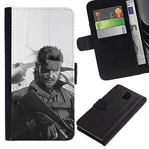 All Phone Most Case / Oferta Especial Cáscara Funda de cuero Monedero Cubierta de proteccion Caso / Wallet Case for Samsung Galaxy Note 3 III // Metal Gear S0Lid Snake