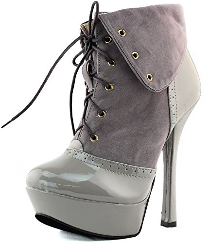 Womens Platform Ankle Booties High Heel Lace Up Fold-Able Mid Calf Boots Fashion Shoes Grey PINtey