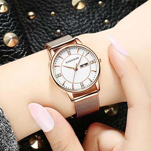 Dayton Watch Women Girls Students Watch Quartz Watch Waterproof Casual Fashion Watch Korean Form Ribbons (ld- Rose Gold with White Double Calendar Milan