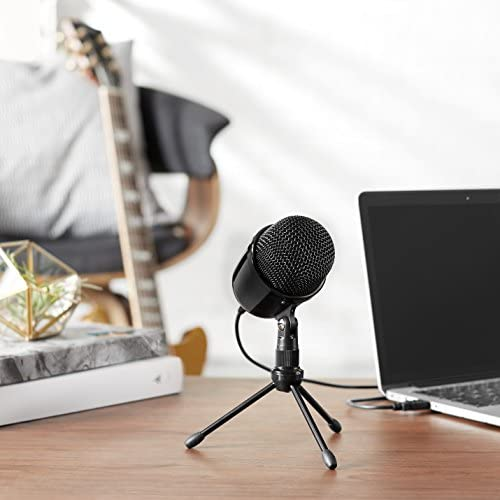 Amazon Basics Desktop Mini Condenser Microphone With Tripod - Black