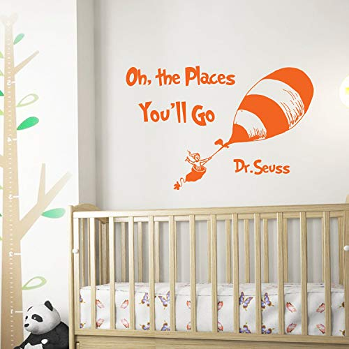 Wall Decals Dr Seuss Quotes Oh The Places You'll Go Wall Decals Nursery Dr Seuss Nursery Vinyl Wall Quotes Kids Baby Room Theme Wall Art Decor Made in USA]()