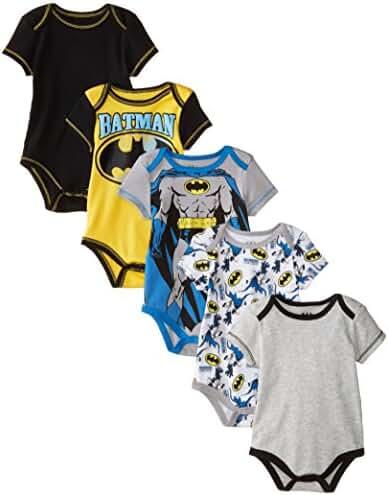 Warner Brothers Baby Boys' Batman Bodysuit (Pack of Five)