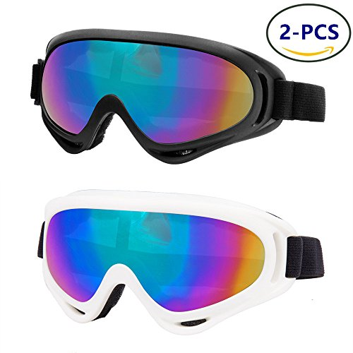 LJDJ Ski Goggles, Pack of 2 - Snowboard Adjustable UV 400 Protective Motorcycle Goggles Outdoor Tactical Activities Glasses Dust-proof Combat Military Sunglasses for Kids,Boys & Girls,Youth, Men - For Women Ski Sunglasses Goggles