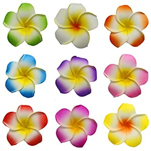 Flyusa 100 Pcs Mixed Color 2.4 inch Hawaiian Foam Artificial Plumeria Rubra Hawaiian Flower Petals For Wedding Party Decoration 54