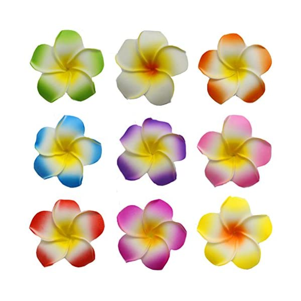Flyusa 100 Pcs Mixed Color 2.4 inch Hawaiian Foam Artificial Plumeria Rubra Hawaiian Flower Petals for Wedding Party Decoration