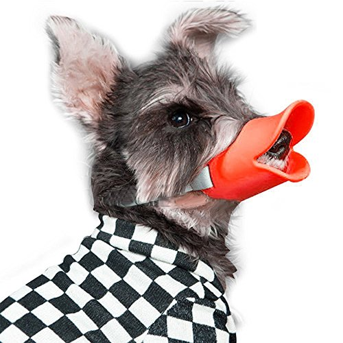 [Dog Muzzle/Dog Mouth Cover Freehawk Quick Fit Breathable Adjustable Soft Silicone Safety Dog Puppy Pet Muzzle Mouth Mask Duck Mouth Shape Pet Mouth Masks, Anti Bite Chew Bark Lick (S, Red) by] (Duck Costumes For Dog)