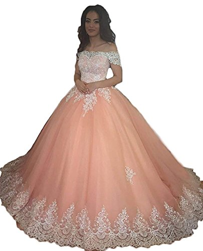 98d4b70ce57 YOUTODRESS Pink Quinceanera Dresses Long Off Shoulder Lace Applique Prom  Ball Gowns