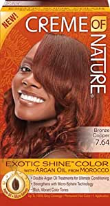 Amazon.com : Creme Of Nature Exotic Shine Color 7.64 Bronze Copper : Chemical Hair Dyes : Beauty