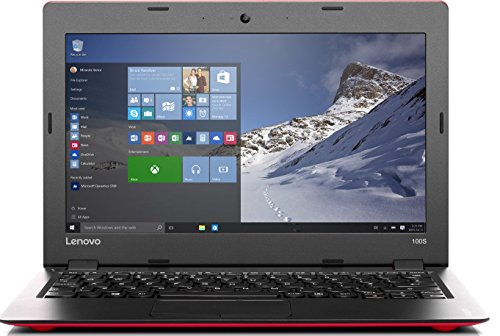 Lenovo 100S-11IBY 29,26 cm (11,6 Zoll HD) Notebook (Intel Atom Z3735F Quad-Core Prozessor, 2GB RAM, 32GB eMMC, Intel HD Grafik, HDMI, Windows 10 Home) rot