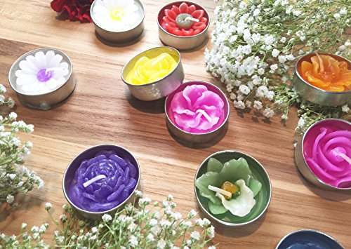 Tealight Candles Assorted Flowers and Colors (30) by Asiana Home Decor