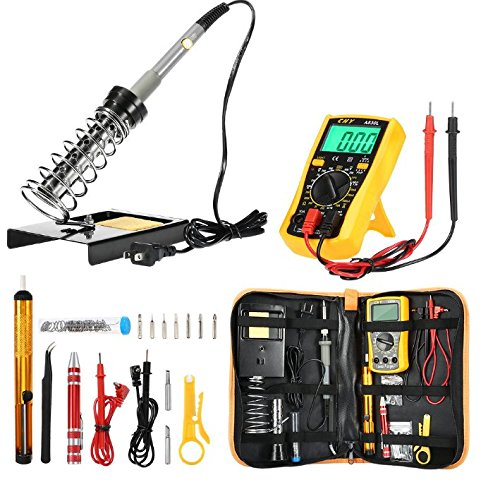 Joyhero D60 Soldering Iron Kit, All in1 DIY Electric Soldering Iron Welding Tools Temperature Adjustable 60w 110v Soldering Equipment Tool,Soldering Iron Stand,Digital Multimeter