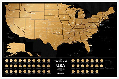 Scratch Off USA Travel Map: 1DEA.me Scratchable Poster of US - Interactive Modern Geography Maps, Travel Tracker & Wall Art Decor for Kids & Adults - Made from Durable Flexible Plastic to Last Longer