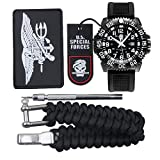 YIDULA Survival Watches Paracord Bracelet Waterproof Watch For Men Camping Hiking Invicta Tactical Gear Military Grade ( Navy Seals )