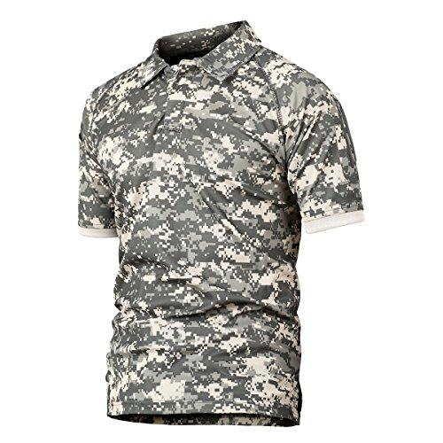 Polo Hommes Militaire Tactique de Combat de Chasse à Manches Courtes Tenu Airsoft Camouflage T-Shirt Tactical Uniforme… 1