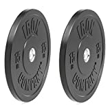 IRON COMPANY 15 lb. Premium Black Virgin Rubber Olympic Bumper Plates (PAIR) for Crossfit Workouts and Olympic Weightlifting - IWF Specifications
