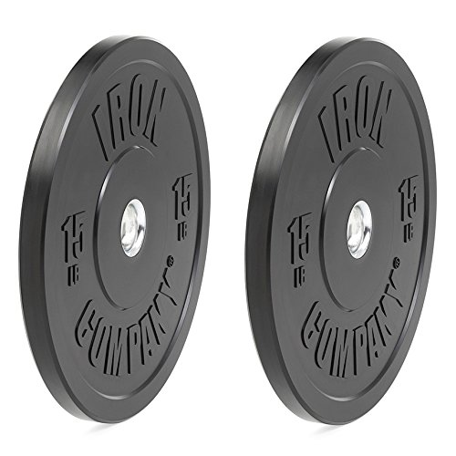 IRON COMPANY 15 lb. Premium Black Virgin Rubber Olympic Bumper Plates (PAIR) for Crossfit Workouts and Olympic Weightlifting - IWF Specifications by Ironcompany.com