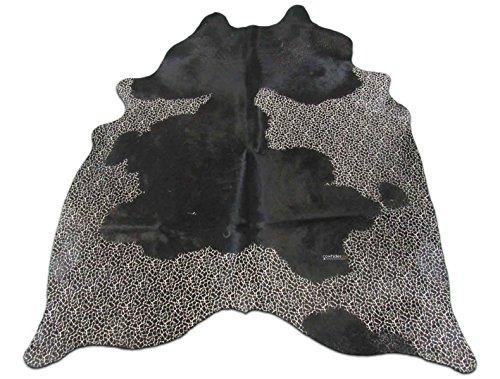 Giraffe Cowhide Print Rug: 7' X 5.5' ft Black and White Print Cow Hide Rug j-129 ()