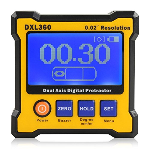 Floureon Axis Level Box Inclinometer Dual Axis Digital Angle Protractor with 5 Side Magnetic Base (DXL360)
