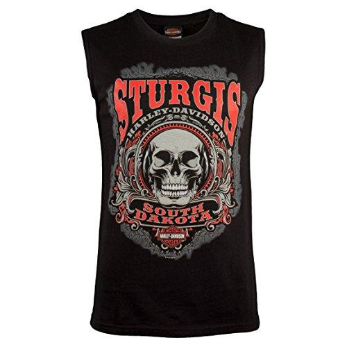 - Harley-Davidson Men's Sturgis Skull Sleeveless T-Shirt (X-Large) Black