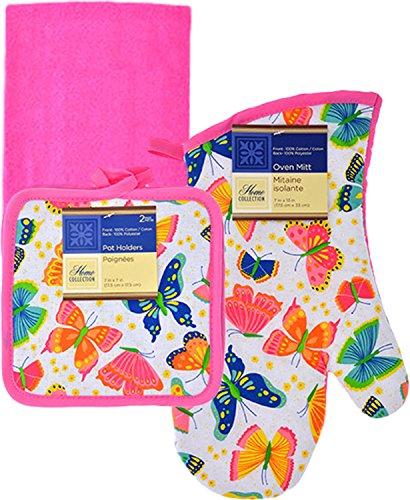 Spring Fling Kitchen Linen Set, 5 Pieces (Pink (Spring Fling Collection)