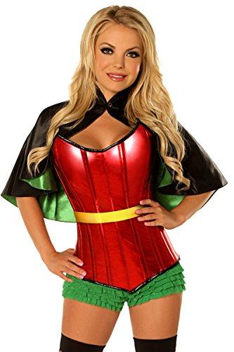 Daisy Corsets Women's Plus-Size Top Drawer Plus Size Superhero Sidekick Corset Costume, Green, 2X