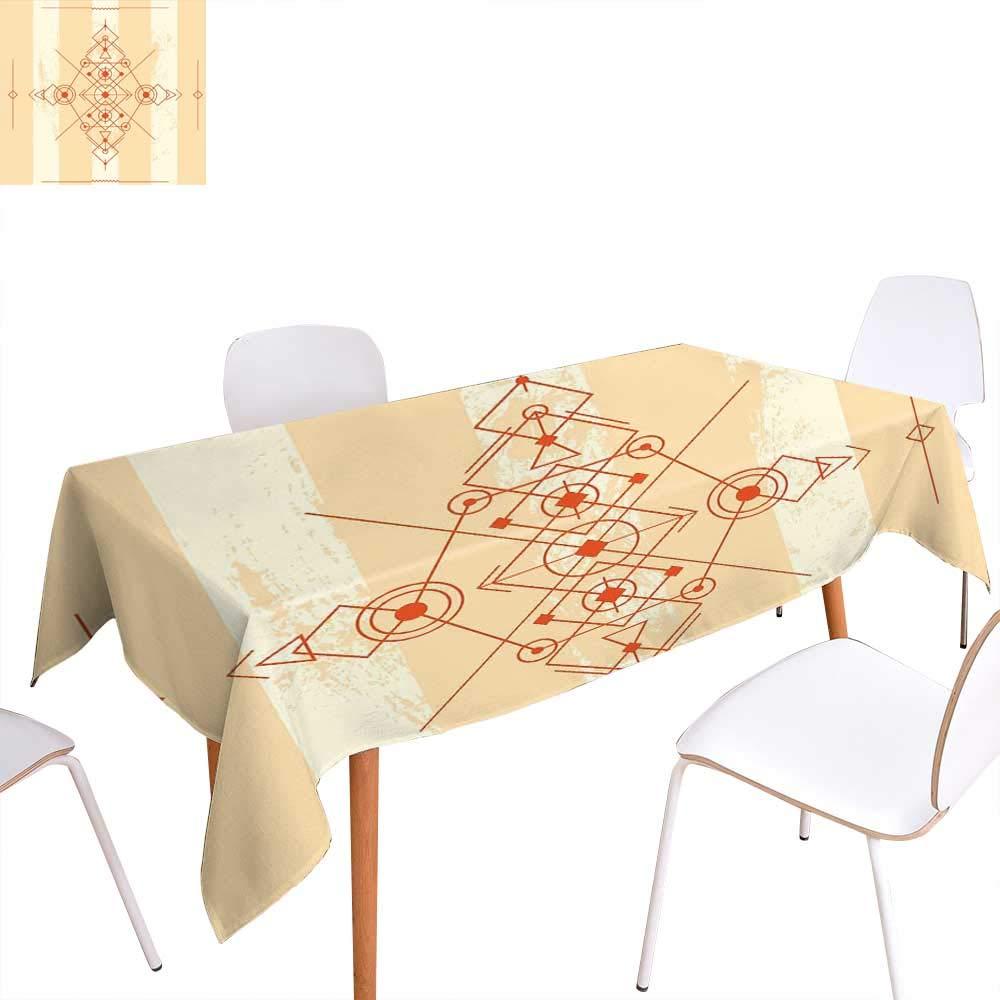 familytaste モダンな洗濯可能なテーブルクロス ミニマリストスタイル 幾何学的な抽象サークル 三角形 イラスト 防水 テーブルクロス サンドブラウン オレンジ W50