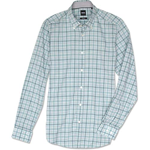Hugo Boss Men's Button-Down Regular-fit Shirt in Checked Cotton Voile (XL, Blue/Green Check)