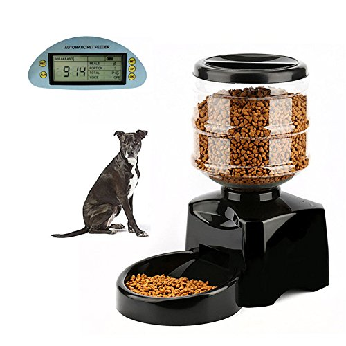 ZYXY Automatic Pet Feeder 5.5L with Voice Message Recording and LCD Screen Dogs Cats Food Dispenser Black (15.1 Inch Lcd Panel)