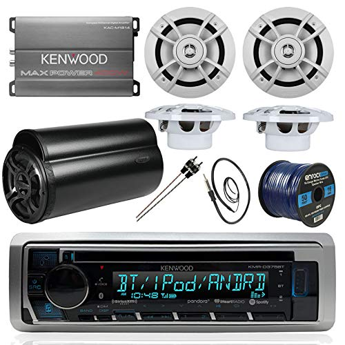 BOAT SOUND SYSTEM PACKAGE: Kenwood Marine Bluetooth Receiver + Kenwood Compact 4-Ch Amp, + 4 6.5 Inch Marine Speakers + Kenwood 10