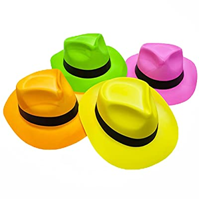 Novelty Place Neon Plastic Party Hats, Fedora with Gangster Mafia Style, UV Blacklight Glow Party Stars Rave Hats for Kids and Teens in Birthday, Concerts, Music Party (Pack of 12): Toys & Games