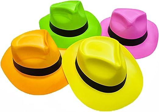 Paquete de 12 Estrellas de la Fiesta Fieltro Ne/ón Sombreros de Pl/ástico para Fiestas - Estilo G/ánster y Brillo de Luz Negra UV - para Ni/ños y Adultos Novelty Place