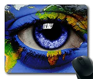 World Map Around An Eye Masterpiece Limited Design Oblong Mouse Pad by Cases & Mousepads