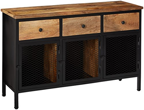 Ashley Furniture Signature Design - Ponder Ridge Accent Cabinet - 3-Storage Cabinets/3-Drawers - Light Finished Wood - Black Metal
