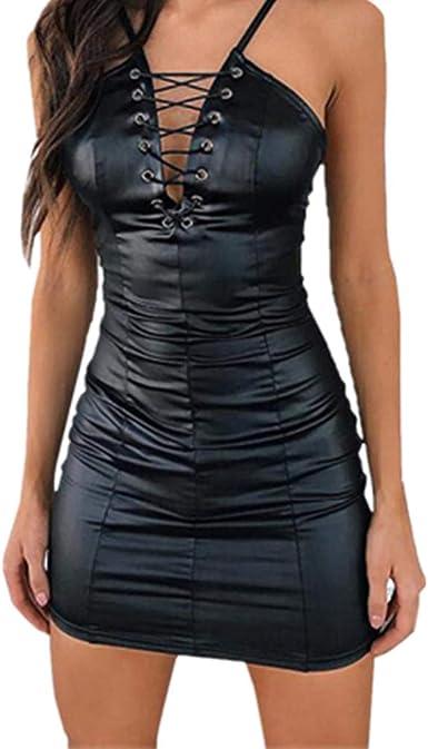 Lenfesh Vestido Ajustado para Mujer Vestido Cuero de Noche Dama ...