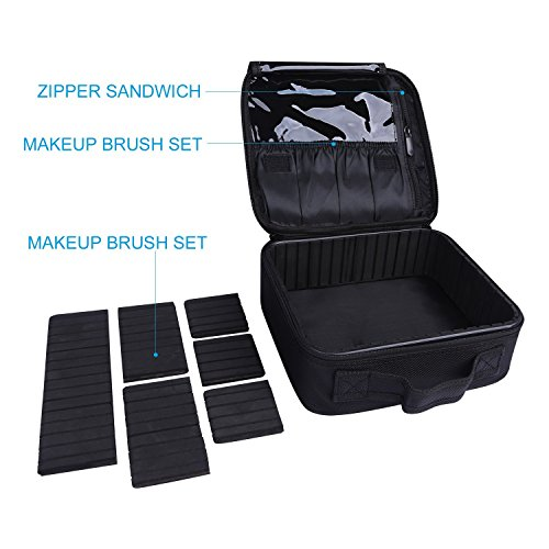 Makeup Bag Train Case Professional Multifunction Makeup Bag Makeup case Cosmetic Bag Portable Travel Toiletry Bag Double Layer Waterproof for Women Girls(Black) by AUTO PDR (Image #2)