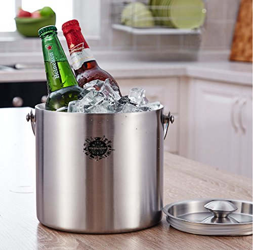 King International 100% Stainless Steel Double Walled Insulated Ice Bucket with Tong | 1750 ml | Bar Tools | Bar Accessories - Ideal for Party Get together and Gifting by King International