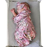 air-SMART Newborn Baby Floral Print Swaddle Blanket and Headband Value Set
