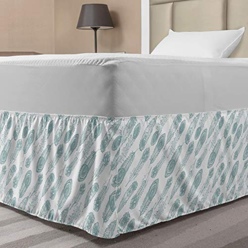 Ambesonne Feather Bed Skirt, Rhythmic Eye Motifs Art Pastel Tones on Plain Backdrop Illustration, Elastic Bedskirt Dust Ruffle Wrap Around for Bedding Decor, Twin/Twin XL, White and Pale Blue Grey