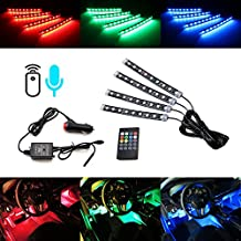 """iJDMTOY 4pc 6"""" 36-SMD 7-Color RGB LED Knight Rider Sound Active Lighting Kit w/ Wireless Control For Car SUV Truck Motorcycle Bike ATV Interior Exterior Use"""