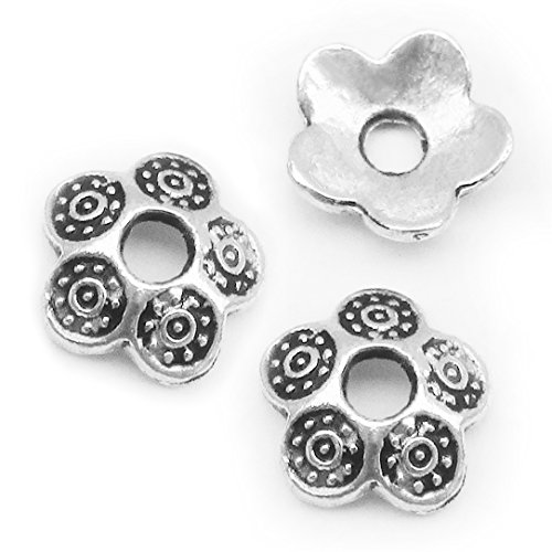 Heather's cf 220 Pieces Silver Tone Petal Beads Caps Findings Fit 10 12mm Round Beads Jewelry Making 8mm