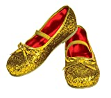 Rubie's Costume Gold Glitter Child Flat Shoes, Medium