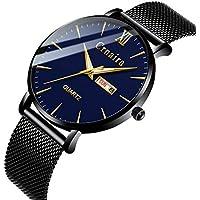 [Patrocinado] Mens Watch Deep Blue/Black Watch/Ultra Thin Wrist Watches for Men/Fashion Watch/Waterproof Dress Stainless Steel Band Blue