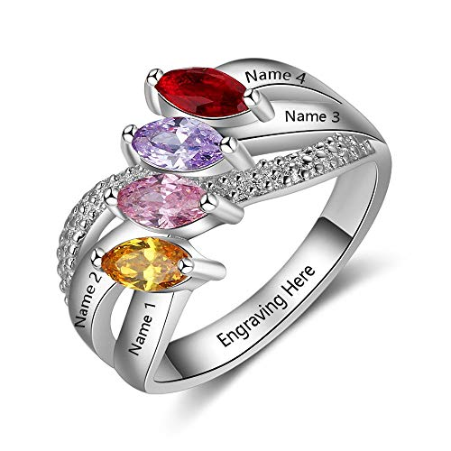 Lam Hub Fong Personalized Mothers Ring with 4 Smulated Birthstones Rings for Mother's Day Engravable Family Rings for 4 (7) (Mother Child Ring)