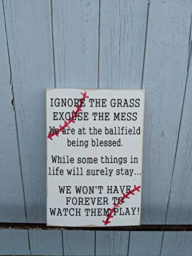 Wooden Sign Ignore The Grass Excuse The Mess Baseball Sign Baseball Sign Porch Sign Sports Decor Home Gardern Decor Plaque Gift