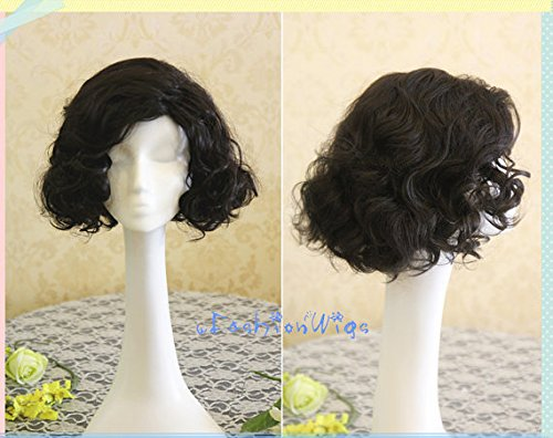 [A Song of Ice and Fire Game of Thrones Jon Snow Cosplay Wig, Short Black Curly Costume Anime Wigs for Party] (Fire And Ice Party Costumes)
