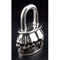Skull Padlock Solid .925 Sterling Silver Pendant for Harley Biker Rock