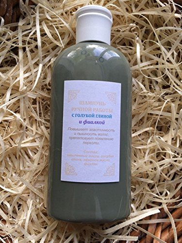 Natural Shampoo with Blue Clay and Violet, organic, handmade, 7 Oz (210 ml)